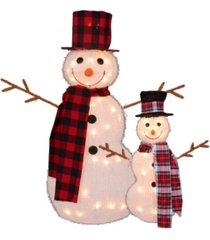 northlight set of pre-lit 3d snowmen with top hats and twig arms outdoor christmas decorations