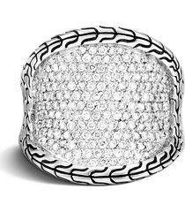 'classic chain' diamond sterling silver ring