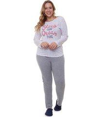pijama feminino longo plus size estrelado luna cuore