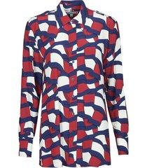 overhemd tommy hilfiger viscose printed blouse ls