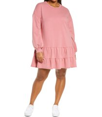 plus size women's bp. drop waist long sleeve babydoll dress, size 4x - pink