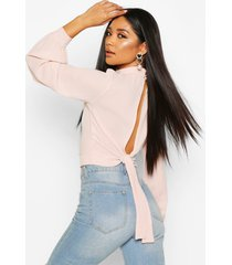 high neck open back top, nude