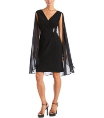r & m richards petite embellished chiffon cape dress
