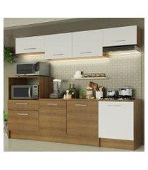 cozinha completa madesa onix 240003 com armario e balcão rustic/branco 5z9b rustic/branco/rustic