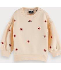 scotch & soda cotton-blend balloon sleeve embroidered sweatshirt
