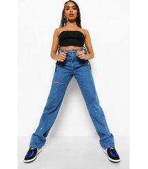 onbewerkte boyfriend jeans met gescheurde knieën, middenblauw
