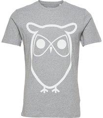 alder basic owl tee - gots/vegan t-shirts short-sleeved grå knowledge cotton apparel