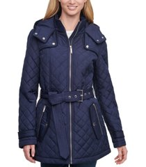 tommy hilfiger belted hooded quilted coat, created for macy's