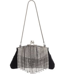 black & brown flora crystal fringe clutch bag
