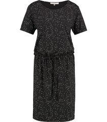 l.o.e.s. 20171 9011 loes linden jurk black/off white zwart