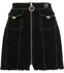 versace jeans couture zip-up denim skirt - black