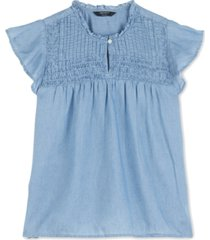 lucky brand pintuck flutter-sleeve top