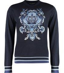 dolce & gabbana intarsia silk sweater