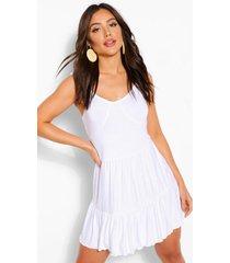 geplooide strand jurk met bandjes, wit