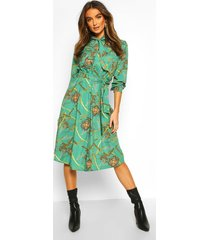 chain tie neck midi dress, green