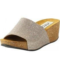 sandalia glitter taupe nara