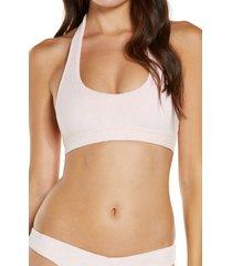 women's frankies bikinis phoebe terry bikini top, size large - pink