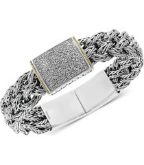 diamond pave woven bracelet (1/2 ct. t.w.) in sterling silver & 18k gold