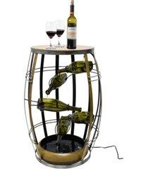 vintiquewise vintage-inspired metal barrel design cascading waterfall floor water fountain with tiering wine bottles yard art decor