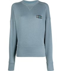 isabel marant étoile fitted-hem logo sweatshirt - blue