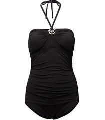 shirred 1pcs badpak badkleding zwart michael kors swimwear