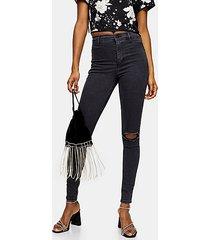 washed black rip belt loop joni skinny stretch jeans - washed black