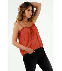 camisa de mujer, cuello redondo, con tirantes delgados para anudar, color naranja