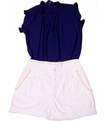 shorts liminha doce branco e blusa azul