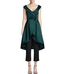 aidan mattox women's peplum jumpsuit - forest black - size 4