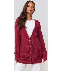 na-kd button up chunky cardigan - red