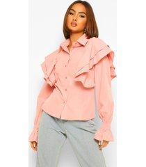 blouse met extreme ruchesmouwen shirt, rose