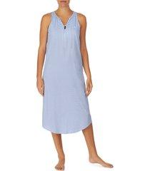 lauren ralph lauren shelf bra sleeveless ballet nightgown, size x-large in blue/white at nordstrom