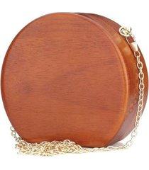 clutch artestore redonda social bolsa carteira de festa em madeira