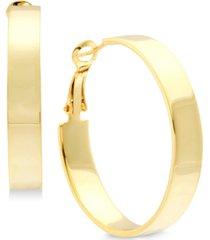 """essentials medium polished flat hoop in fine silver plate earrings 1-1/2"""""""