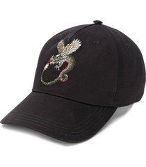 alexander mcqueen dragon embroidered baseball cap - black