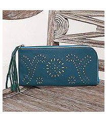 leather wallet clutch, 'prambanan fireworks in teal' (indonesia)