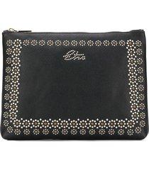 etro stud-embellished clutch - black