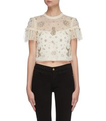 'ether' galaxy motif bead embellished tulle top