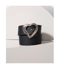 cinto feminino com fivela de coração preto