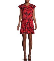 floral-print mini swing dress