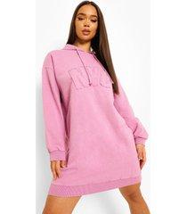 acid wash gebleekte nyc hoodie jurk, lilac