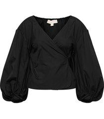 cotton poplin wrap tp blouse lange mouwen zwart michael kors