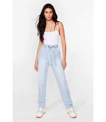 womens let 'em tie again belted high-waisted jeans - light blue