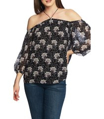 women's 1.state off the shoulder sheer chiffon blouse, size large - black