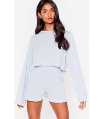 womens rib's been a long day ruffle pajama shorts set - light blue