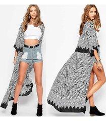zanzea hippie ladies summer casual chiffon kimono long shirt coat cardigan maxi