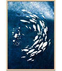 quadro 67x50cm urak oh13 peixes brancos decorativo moldura natural com vidro