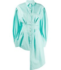 green asymmetric buttoned down shirt