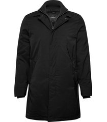 twill coat w detachable collar dunne lange jas zwart lindbergh