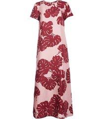 monstera rosa in silk twill swing dress